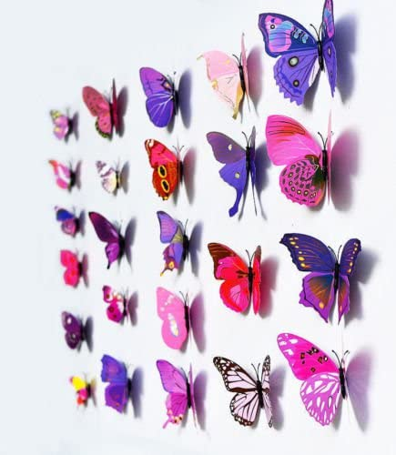 B1 - Pink New Fashion Mix 12pcs Magnetic 3D Butterfly Decal Wall Stickers Home DIY Art Decor Room
