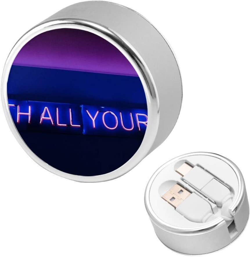 Charging Cable Can Be Charged and Data Transmission Synchronous Fast Charging Cable-with All Your Heart Neon Signage Round USB Data Cable