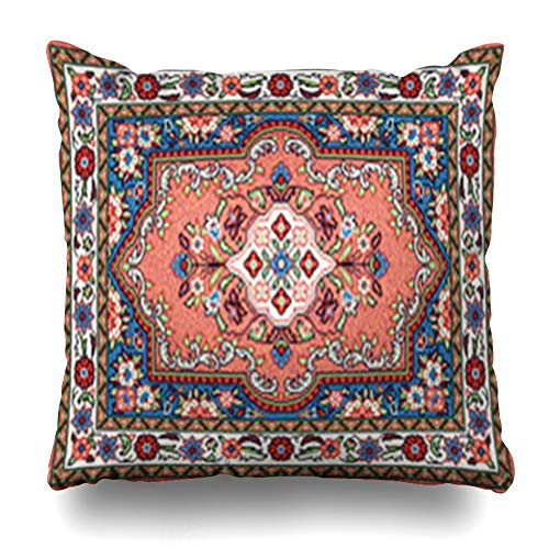 - GisRuRu Throw Pillow Covers 10 Oriental Mosaic Sarouk Classic Central Flower Ivory Geometric Patterned Carpet Antique Turkish Home Decor Sofa Pillowcase Square Size 18 x 18 Inches Cushion Cases