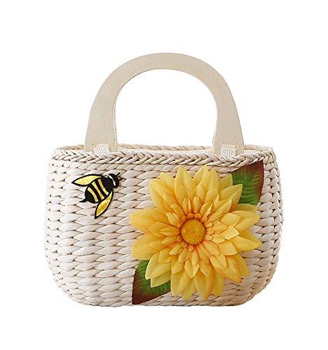 Tonwhar Pastoral Style Natural Corn Husk Small Top-handle Beach Tote Handbag