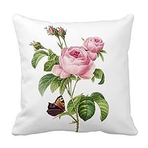 pillow perfect Decorative Cotton 18 X 18 Twin Sides Pixdezines Redoute Roses Throw Pillowcases