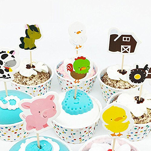 Farm Animal Cupcake Toppers, Cake Decorations, Appetizer Picks for Kids Birthday Party, Themed Party (72 pack) by NADARDA (Image #4)