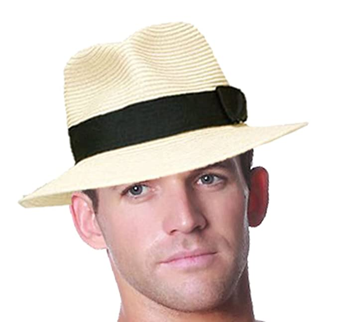 1950s Men's Clothing STRAW CRUSHABLE FOLDABLE SUMMER PANAMA FEDORA TRILBY HAT WITH BAND  AT vintagedancer.com
