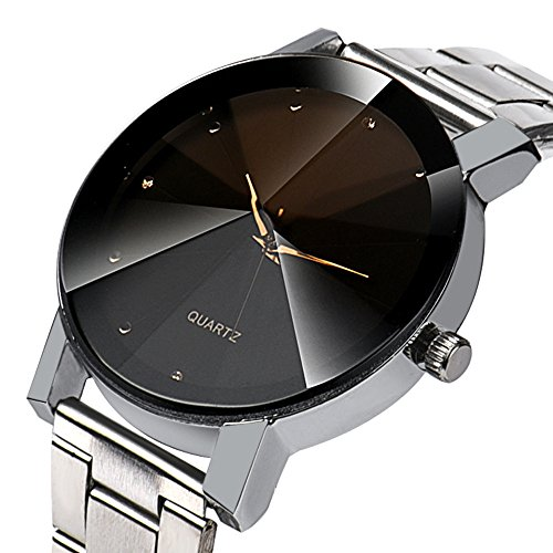 - HiGOGO Crystal Dial Mirror Convex Stainless Steel Band Watch Fashion Women Analog Quartz Wrist Watch Bracelet Watchs (Silver)