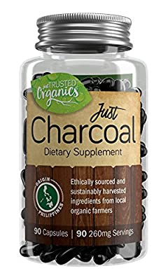Trusted Organics | Natural Activated Charcoal Capsules | For Gut Health, Detox, Teeth Whitening, Facial Masks, and Hangovers | Formed From Organic Coconut Shells | Money Back Guarantee! | 90 Count