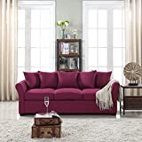 Classic and Traditional Ultra Comfortable Linen Fabric Sofa - Living Room Fabric Couch (Purple)