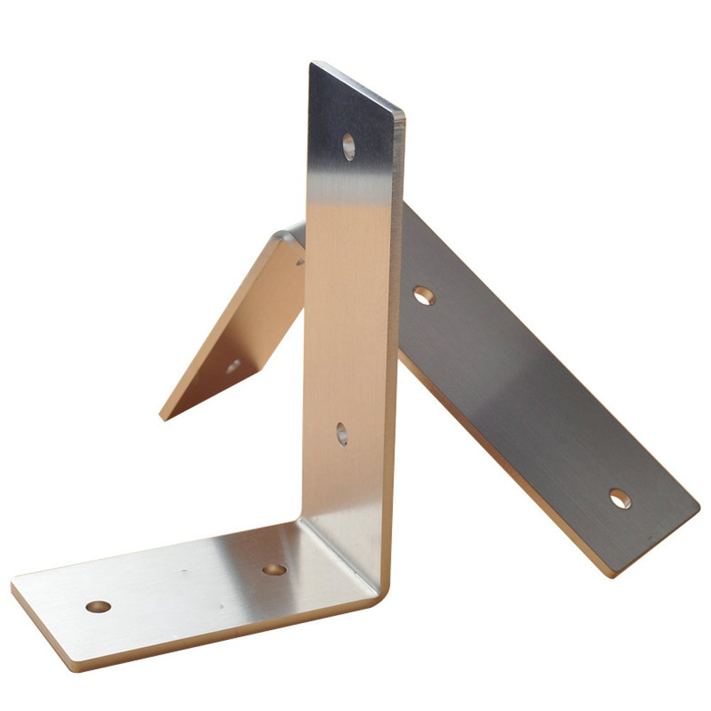 OVOV 2Pcs 3mm-Thick Stainless Steel Floating Shelves Heavy Duty L Corner Brace Joint Angle Support Wall Hanging (22.5x10cm) by