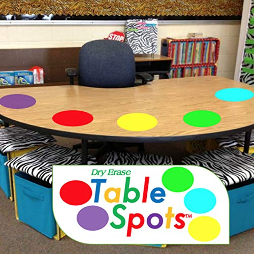 Table Spots for Teachers, No Staining or Shadows, Complete Erase! Use in Class All Year! Dry Erase Only, 10 Pack Multicolor Circles, Wall Stickers, Decals, Abaco Brands, USA -