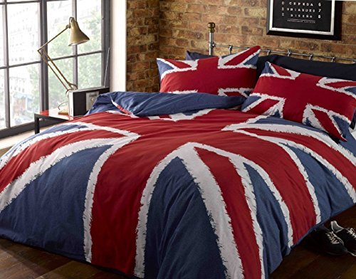 Price comparison product image Rock N Roll Funky Union Jack British Uk Blue Red White King Size Duvet Cover Bedding Bed Set,  Blue by Rock N Roll
