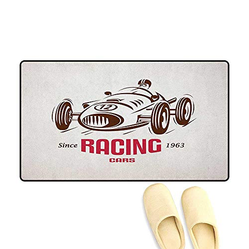 zojihouse Cars Bath Mat for tub Retro Style Race Car Emblem Formula Automobile Icon Speed Competition Size:24