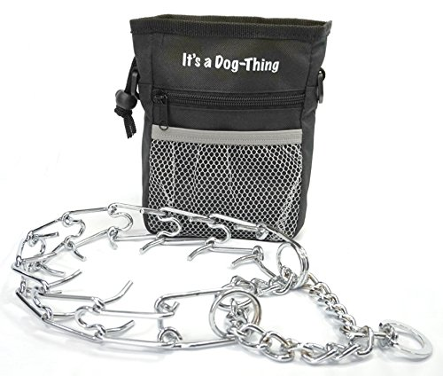 Dog-Thing It's a Training Bundle! Dog Training Prong Collar and Black Dog Treat Bag. Metal Collar for Large Dog Obedience Training. Better than a choke chain, stop pulling during dog walking. (Gentle Leader Treats)