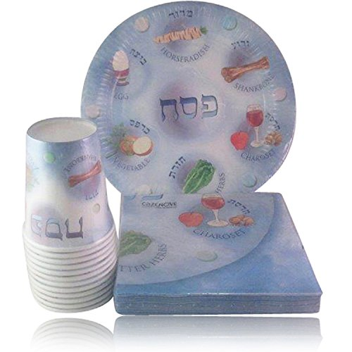 Passover Disposable Paper Plates, Cups and Napkins for Seder Table -