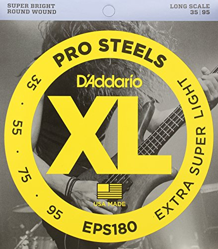 Gauge Light Strings Bass - D'Addario EPS180 ProSteels Bass Guitar Strings, Extra Super Light, 35-95, Long Scale