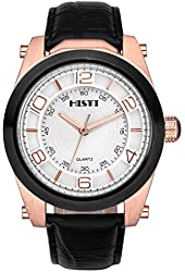 Men's Big Oversized Face White Dial Rose Gold Black Bezel Leather Band Analog Quartz Movement Wrist Watch