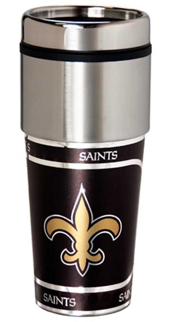 Great American New Orleans Saints 16 oz Travel Tumbler with Metallic Wrap by Great American