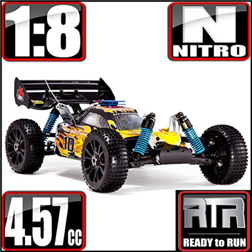Redcat Racing Hurricane XTR Nitro Buggy, Yellow/Flame, 1/8 Scale ()