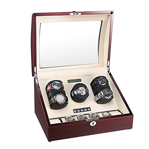AUBLAN Automatic Watch Winder Case 5+6 Storage Boxes for 11 Watches, with Japanese Quiet Motor, Wood Shell Piano Paint Exterior, Soft and Flexible Watch Pillows