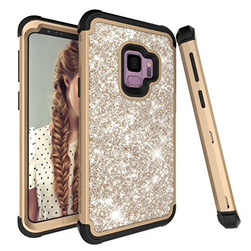 Galaxy S9 Case, Ankoe 3D Luxury Glitter Sparkle Bling Shiny Heavy Duty Hybrid Sturdy Armor Defender High Impact Shockproof Full-Body Protective Cover Case for Samsung Galaxy S9 (Gold (Black Box Samsung)