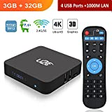 Android TV Box 7.1【3gb Ram+32gb ROM】 2018 Amlogic S912 Octa Core 64 Bit 2.4G/5G Dual Band WiFi 4K HD 1000M LAN BT 4.1 X Super Smart Media Player with LED Display