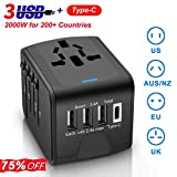 Universal Travel Adapter, Wsiiroon International AC Power Plug Adapter with 3.4A Type C 4 USB Smart Quick Charging Ports Travel Power Adapter USB Wall Charger for US UK AU Europe Asia in 200 Countries