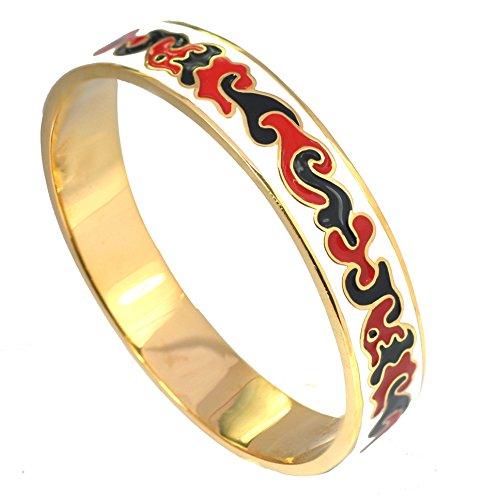 (De Buman 14K Yellow Gold Plated Enamel Cuff Bracelet)