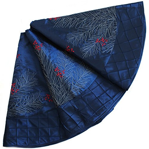 X.Sem Large Pine Branches Berry Embroidered Faux Silk Christmas Tree Skirt with Pintuck Border 36'' Blue (50 inch)