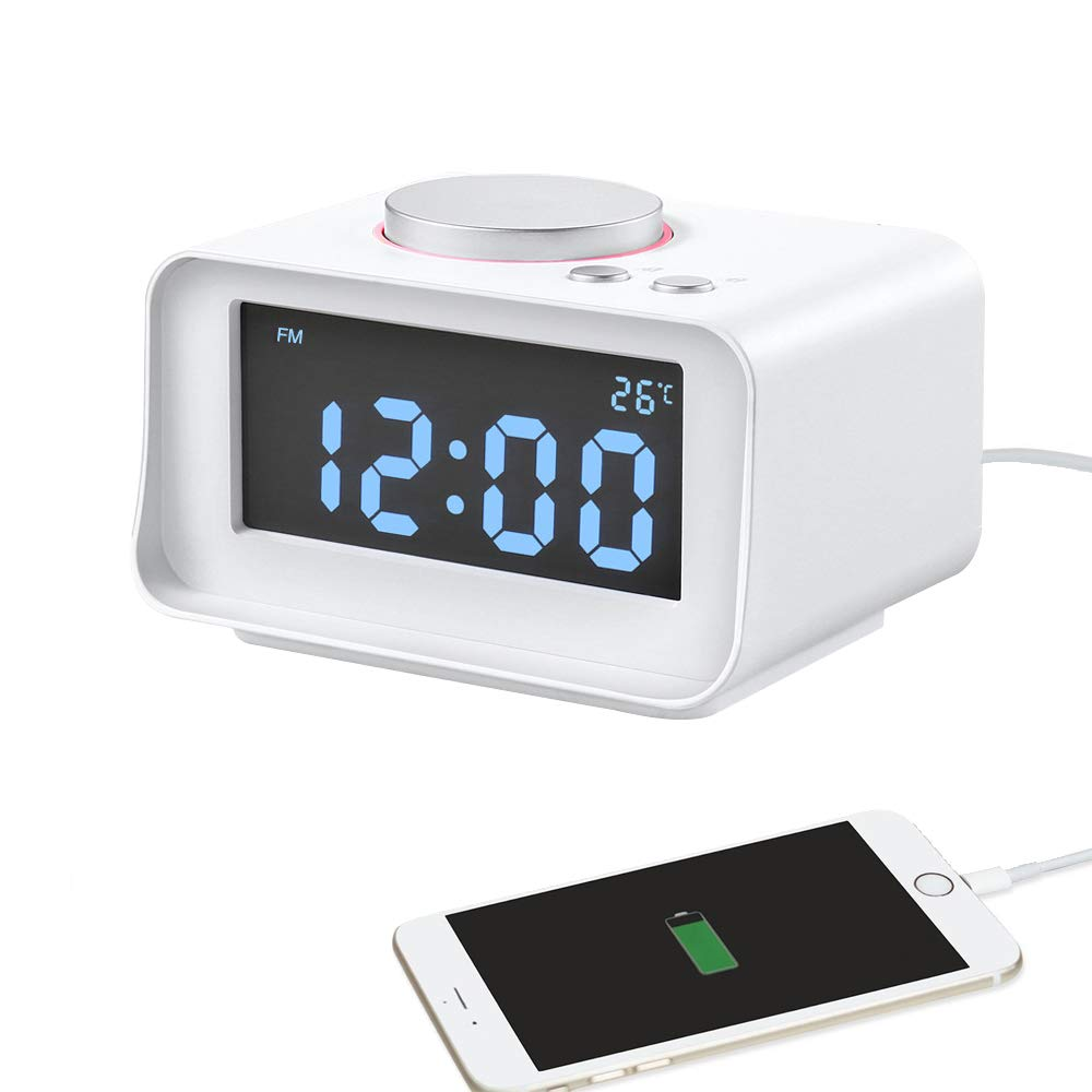 Abedoe Smart Digital Clock Alarm with Multi-Function FM Radio Dual Port USB Charger, Support Snooze Indoor Thermometer Brightness Dimmer AUX Function Connect to MP3 MP4 PDA Computer Phone (White)