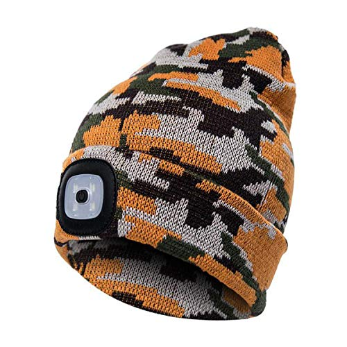 (Unisex LED Beanie Hat with Battery Women Men Camping Running Skiing Bonnet Skullies Caps Knitting Woolen Hat,M)