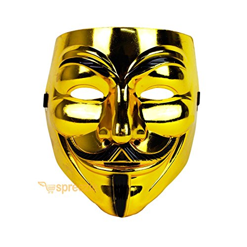 Gold V For Vendetta Face Mask Guy Fawkes Halloween Party Masquerade Anonymous Guy Fawkes Mask Mask Vendetta