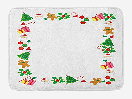 (Kids Christmas Bath Mat, Colorful Border with Different Clip Arts Holiday Festivity Santa Trees Balls, Plush Bathroom Decor Mat with Non Slip Backing, 23.6 W X 15.7 W Inches,)