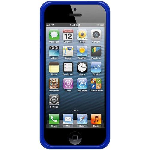 Amzer Hochglänzende TPU-Schutzhülle für Apple iPhone5, blau mit Argyle-Muster