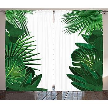 Amazon Com Ambesonne Leaf Curtains Romantic Holiday