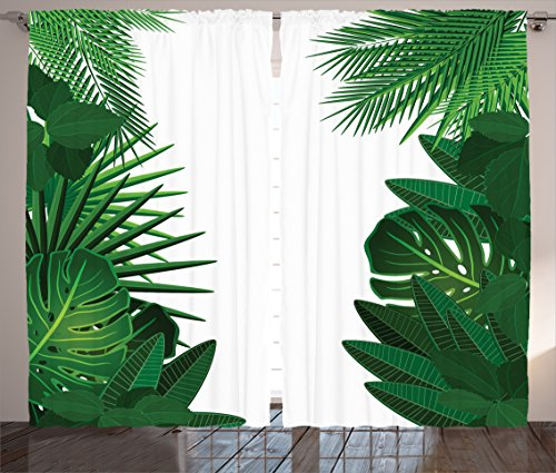 "Ambesonne Leaf Curtains, Exotic Fantasy Hawaiian Tropical Palm Leaves with Floral Graphic Artwork Print, Living Room Bedroom Window Drapes 2 Panel Set, 108"" X 90"", Green White"