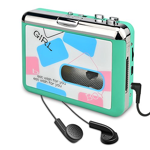 DIGITNOW Cassette Player-Cassette Tape To MP3 CD Converter Via USB,Portable Cassette Tape Converter Captures MP3 Audio Music,Convert Walkman Tape Cassette To MP3 Format (green) - Stereo Cassette Player Installation