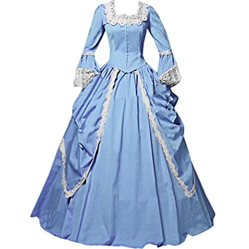 I-Youth Womens Lace Marie Antoinette Masked Ball Victorian Costume Dress (M, Sky Blue)