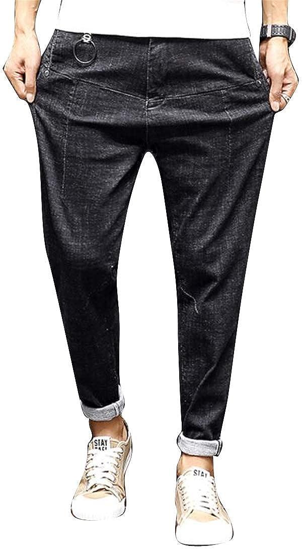 ARTFFEL Mens Retro Relaxed Fit Plus Size Winter Harem Pants Denim Jeans Pants