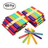 #6: Colorful Popsicle Sticks Natural Wooden Craft 400Pcs Bright Assorted Color 4.5 inch Jumbo Craft Sticks for DIY Craft Creative Designs