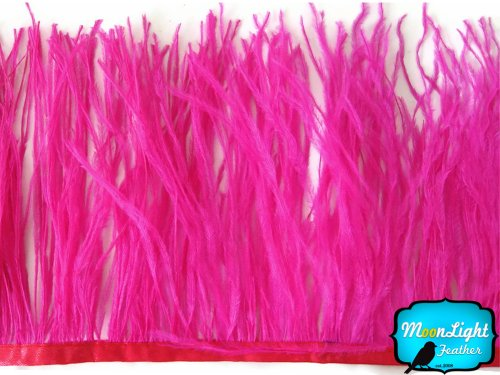 Price comparison product image Ostrich Feathers ,  Hot Pink Ostrich Fringe Trim Feather - 6 Inches
