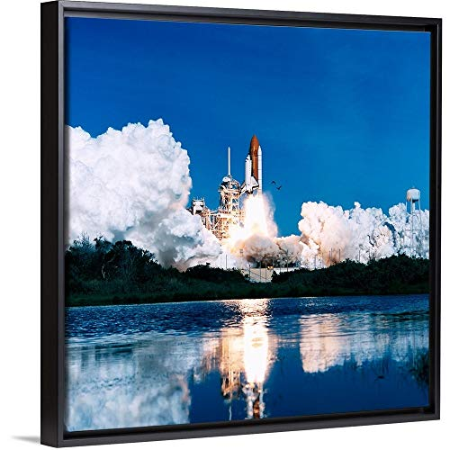 Space Shuttle Launch Black Floating Frame Canvas Art, 26