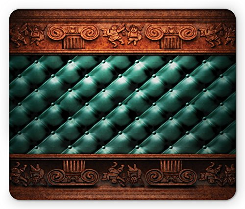 Victorian Mouse Pad by Lunarable, Wooden Ornament on Leather Couch Bed Headboard Panel Wood Molding Plaque, Standard Size Rectangle Non-Slip Rubber Mousepad, Teal Dark Orange - Bed Molding Wood