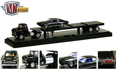New 1:64 Auto-Haulers Collectibles RELEASE 16 - BLACK 1958 Chevrolet LCF & 1969 Pontiac GTO Black Diecast Model Car By M2 Machines