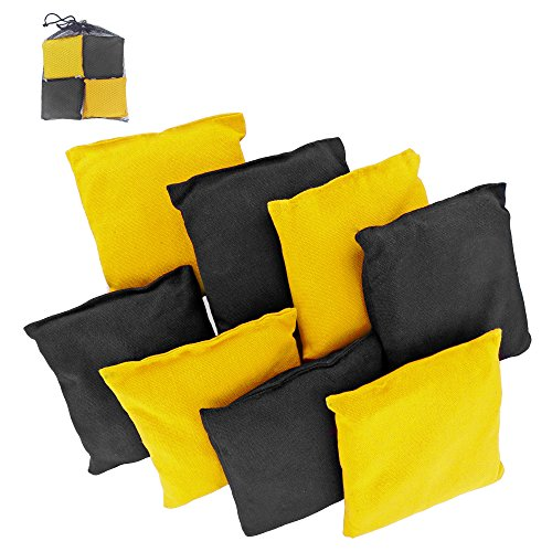 Premium Weather Resistant Duck Cloth Cornhole Bags - Set of 8 Bean Bags for Corn Hole Game - 4 Yellow & 4 Black - Bag Yellow Corn