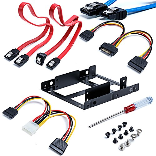 Sata Cable Wonderful Direct 2 x 2.5 Inch SSD to 3.5 Inch Internal Hard Disk Drive Mounting Kit Bracket + 2 Sata Cable (SATA Data Cables and Power Cables included)