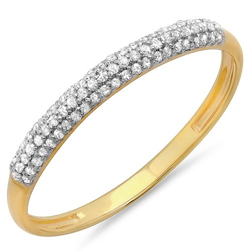 Dazzlingrock Collection 0.16 Carat (ctw) 10K Round White Diamond Ladies Bridal Anniversary Wedding Band, Yellow Gold, Size 7