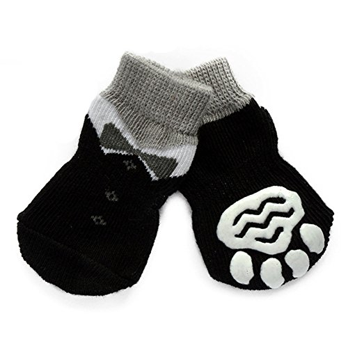 Small Dog Sock,Puppy Anti-Slip Socks Comfortable Shoes Boots With Rubber Reinforcement Soft of 4pcs Breathable Sock Design For Pet Dogs (S, L)