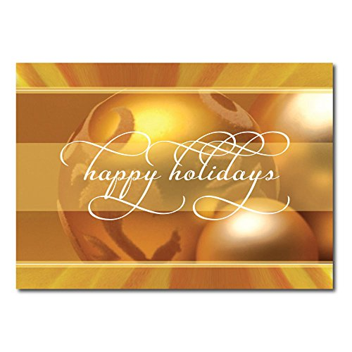 "Christmas Holiday Greeting Card H1116. A cheerful ""happy holidays"" design created for companys to send to clients and business associates. Gold foil-lined envelopes."