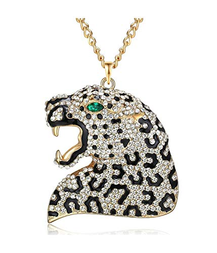 Qiji Statement Leopard Pendant Necklace Punk Rhinestone Animal Costume Jewelry Big Blue Eye Black Enamel Leopard Necklace ()
