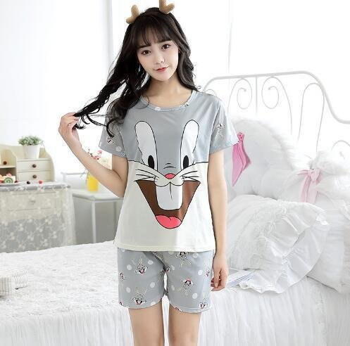 Amazon.com: Blue Stones Pajamas Sets For Women Summer Short Sleeve Cartoon Cute Sleepwear Girl Pijamas Mujer Nightgown Lovely Leisure Wear: Kitchen & Dining