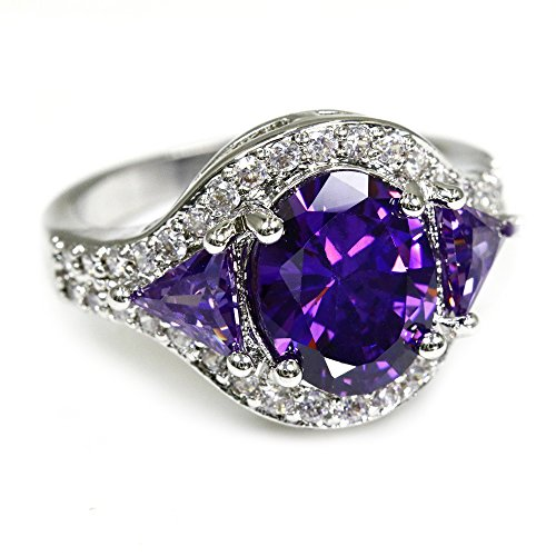 New Luxury Silver Plated Cubic Zirconia Crystal Ring, Gift For Her, Oval Shaped, Big Stone Ring (Purple, 6) (6 Oval Gifts)