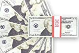Realistic Double Sided Prop Money - Set of 100 $20 Dollar Bill Total $2,000 with Red Currency Strap - Full Print Paper Money for Movie, TV, Videos, Pranks, Advertising & Novelty, 6.25 x 2.5 Inches